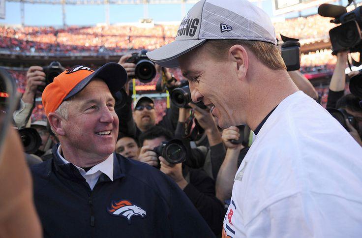 Denver Broncos quarterback Peyton Manning (18) and Denver Broncos head coach John Fox after the Broncos beat the New England Patriots in the...    #ProFootballDenverBroncos