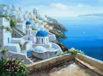 Mediterranean Greece Greek Islands Sea Coast Town Original