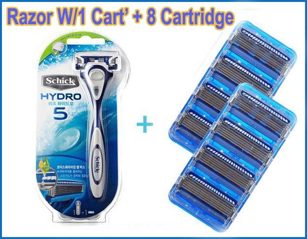New Schick Hydro5 Blade Razor W/1 Cart' + 8 Cartridge Refills Sealed Package