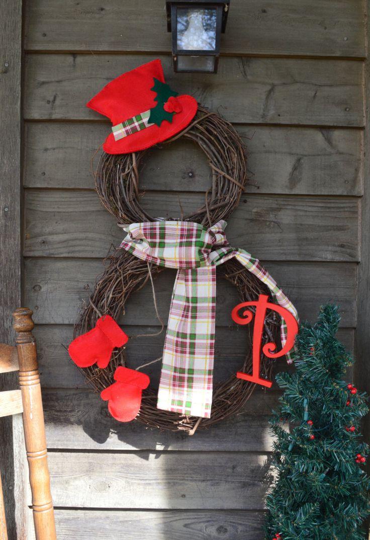 Personalized Snowman Wreath Grapevine Wreath Rustic Home Primitive Home Christmas Decor Holiday Decor Monogram By Snowman Christmas Decorations Christmas Crafts Christmas Diy