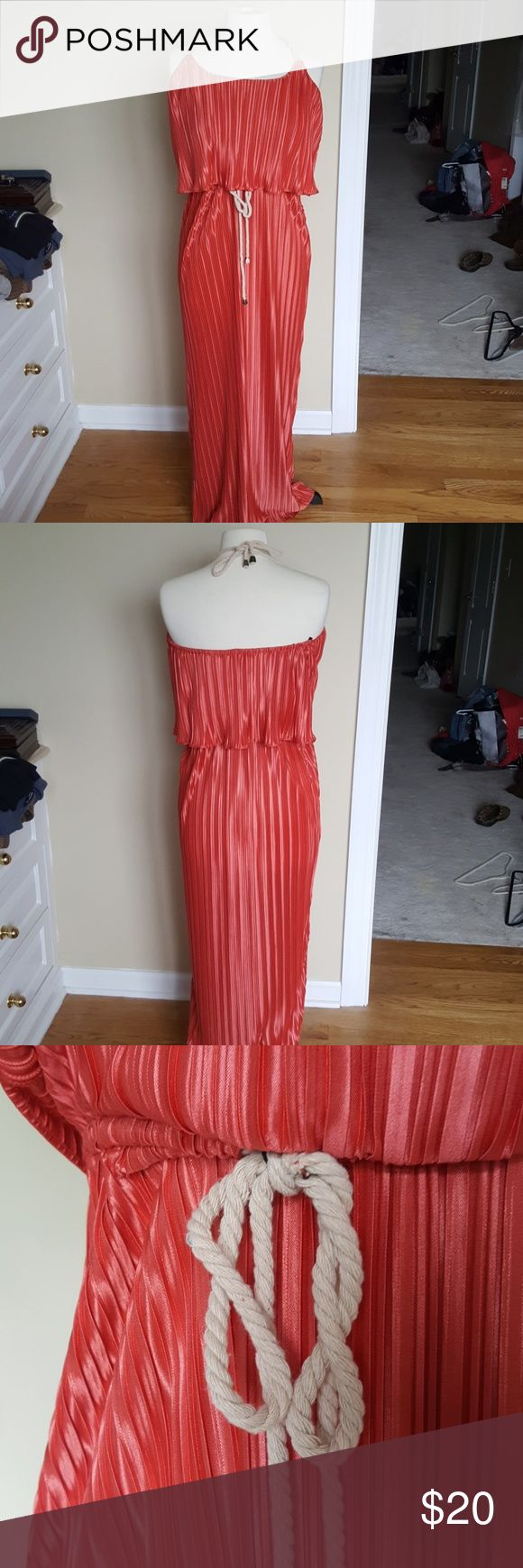 NWOT boston proper bright nautical maxi dress This dress screams summer!! Vivid orangey coral with rope ties and lightweight breezy fabric. What isn't to love! Never worn. I can't say enough about it!! Says medium but could possibly fit a little small. Make me an offer! Boston Proper Dresses Maxi
