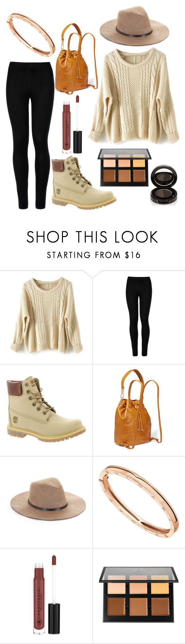 """."" by lauravf ❤ liked on Polyvore featuring Wolford, Timberland, Elizabeth and James, BCBGMAXAZRIA, Bulgari and Anastasia Beverly Hills"