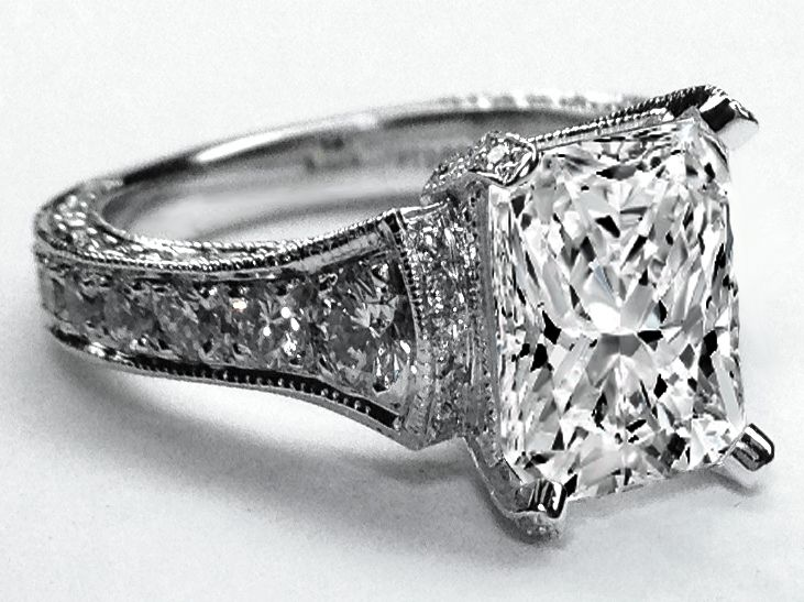 Large Radiant Diamond Cathedral Graduated Pave Engagement