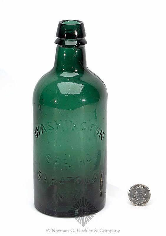 """Washington / Spring / Saratoga / N.Y."" Mineral Water Bottle, America, 1860-1870. Cylindrical, emerald green, applied sloping collared mouth with ring - smooth base, pint; (1/16 inch bruise on base edge, light exterior wear marks). T #S-64B Listed as scarce. #Bottles #MineralWaters #MADonC"