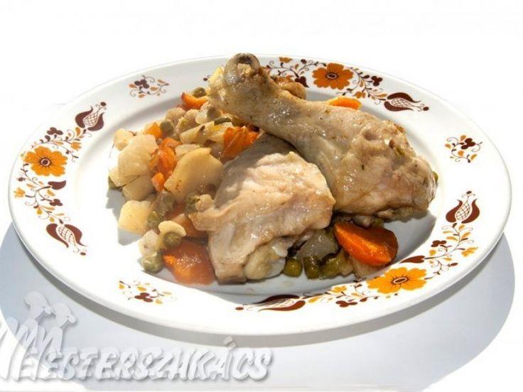 Csirke zöldségágyon recept