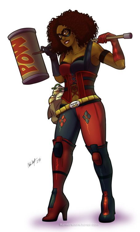 An African American version of Harley Quinn of DC Comics fame. Description from deviantart.com. I searched for this on bing.com/images
