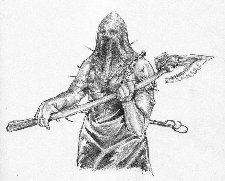 Pencil drawing of the executioner from resident evil. # ...