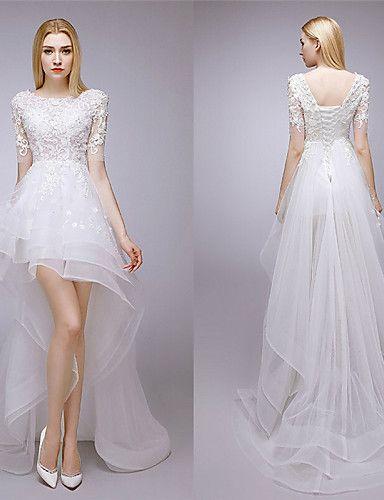 Vestido de Noiva - Branco Trapézio Transparente Assimétrico/Mullet Renda de 2015 por R$609,56