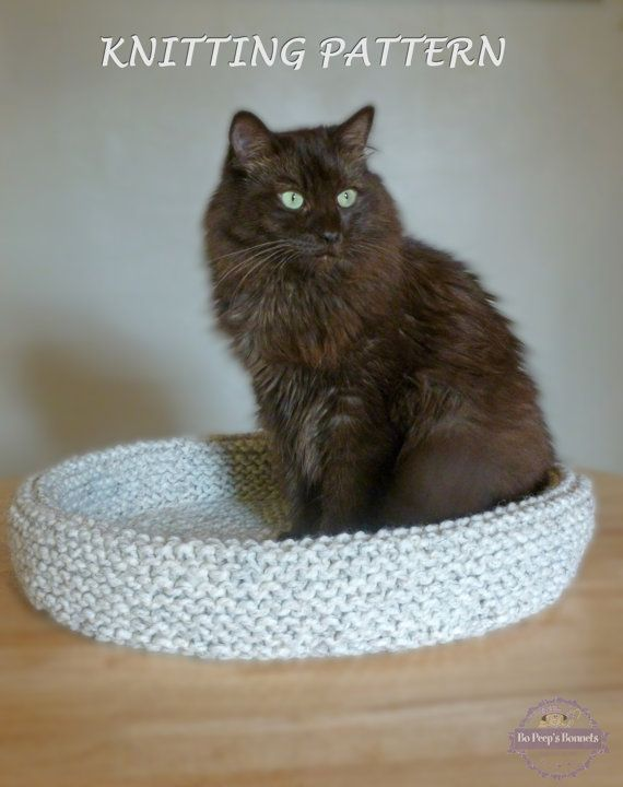 Cat Bed KNITTING PATTERN Knitted Cat Bed, Knit Pet Bed Pattern by BoPeepsBonnets on Etsy