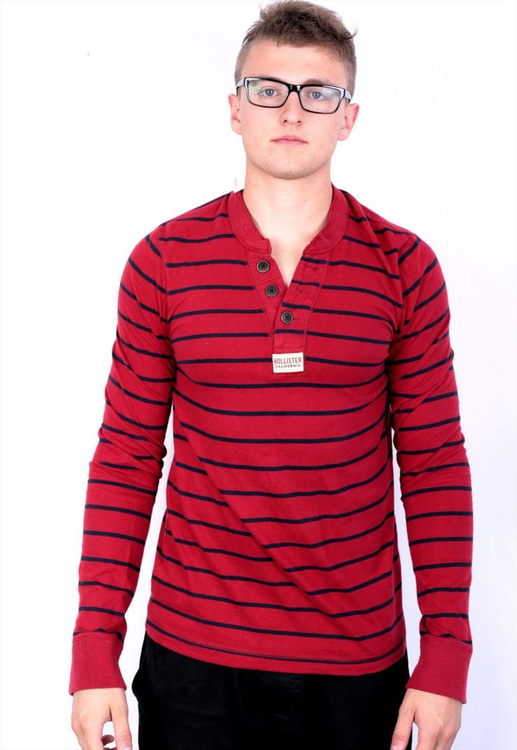 Hollister Mens M T-Shirt Long Sleeve Red Cotton Striped