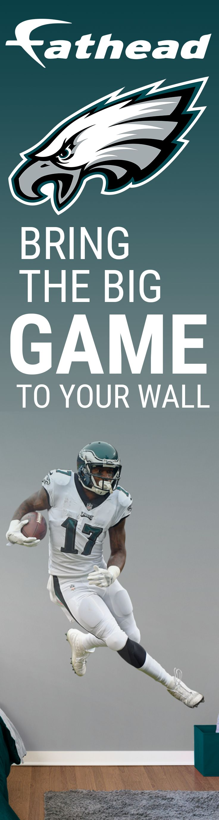Bring Super Bowl LII to your wall! Show your Philadelphia Eagles spirit with Fathead. Get an authentic, licensed Alshon Jeffery Fathead wall decal or Eagles logo wall decal. Forget football posters and wall stickers, and Go Big - REAL.BIG. with an Eagles Fathead wall graphic.  Fathead wall decals are life-size action images that you stick on any smooth surface. You can move them and reuse them and they are safe for walls!