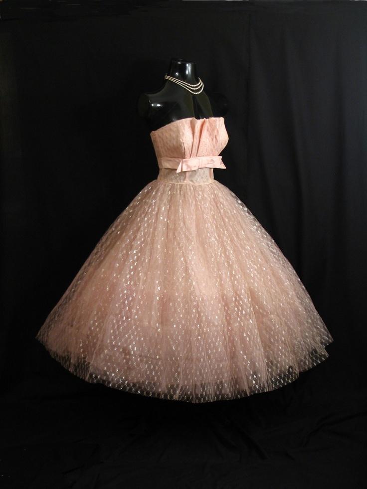 Vintage 1950's STRAPLESS Pink Shelf Bust Taffeta Tulle Metallic Gown