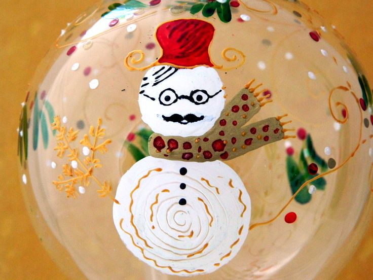 Handsome snowman hand painted on a glass Christmas ball
