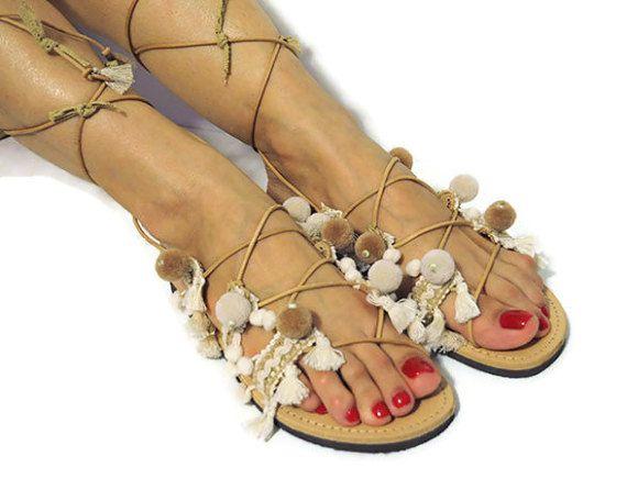 Gladiator sandals, leather sandals, lace up sandals, boho sandals, pom pom sandals, Greek sandals, wedding sandals, bridal sandals, white