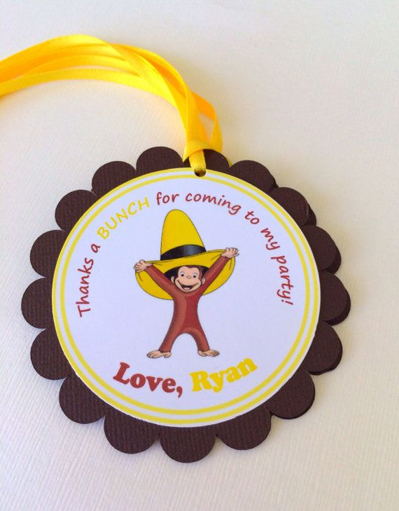 Curious George Favor Tags by BerrySweetParties on Etsy, $10.00