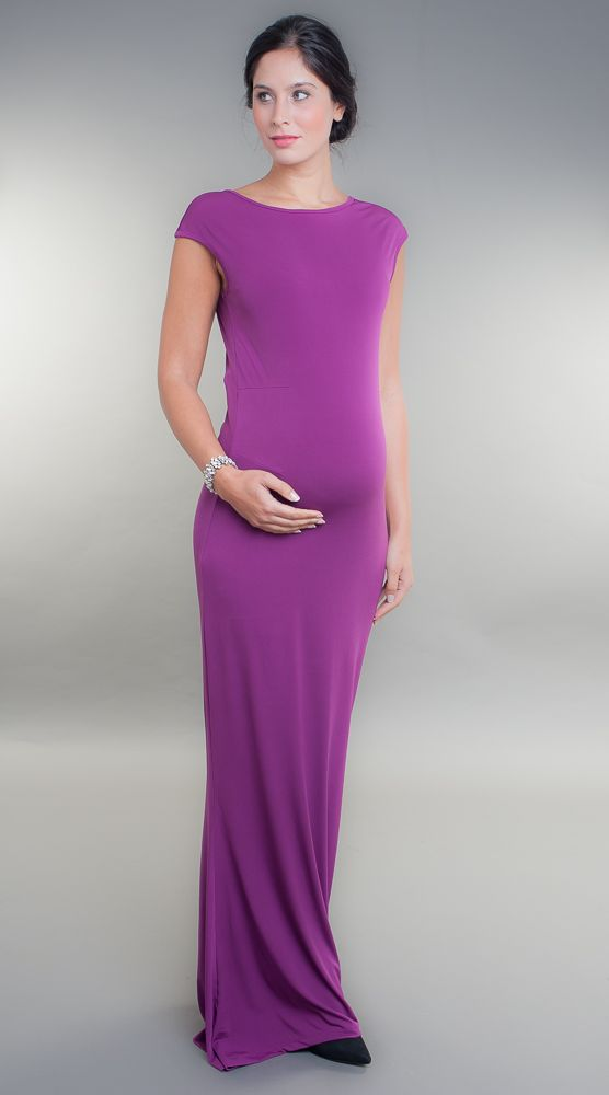 Gorgeous mulberry coloured maxi maternity dress, purple maternity maxi dress