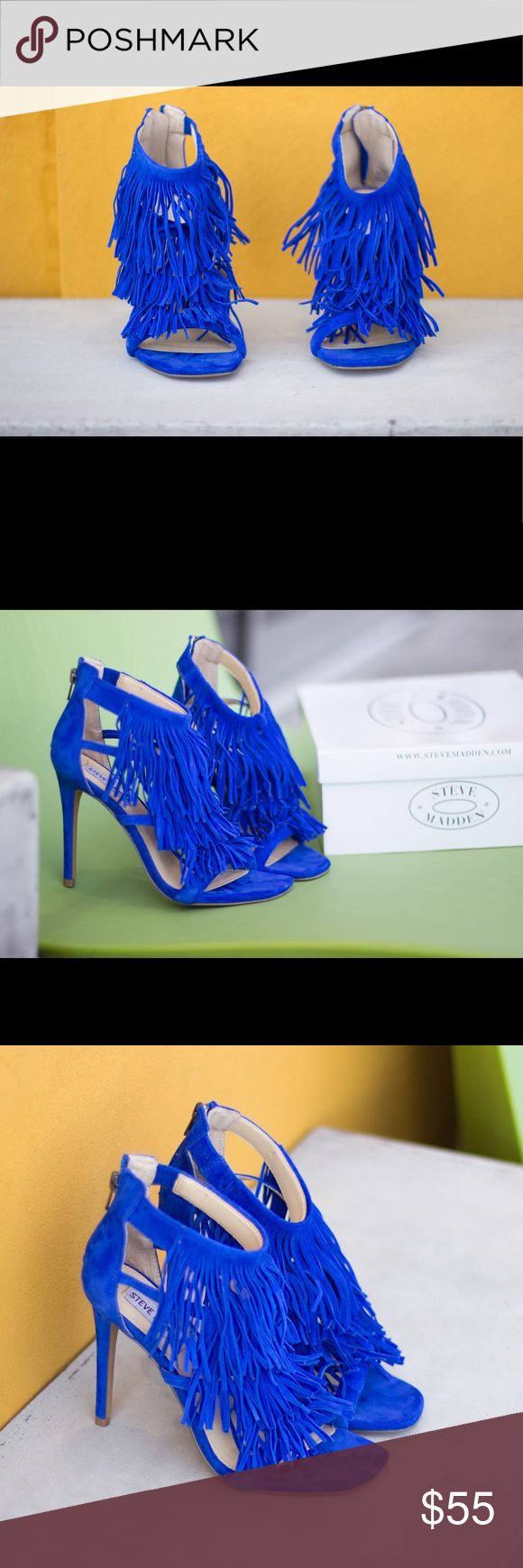 """These babes can be your """"fringe with benefits."""" Barely worn(once to be exact). These blue suede fringe Steve Madden heels are sure to get the party started! Not only are these show stoppers cute and on trend, they're super comfortable. You'll be dancing all night! Steve Madden Shoes Sandals"""