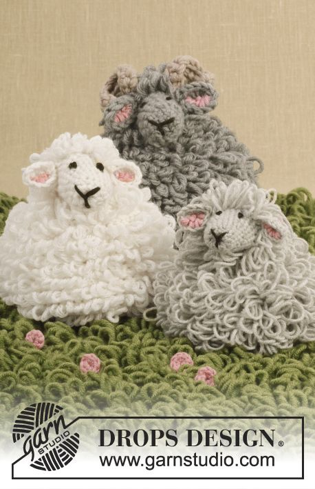 "Mouton DROPS au point de bouclettes, au crochet, en ""Merino Extra Fine"". ~ DROPS Design"