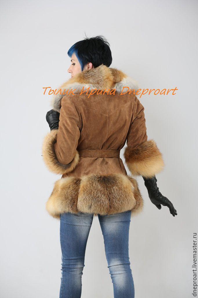 Купить Стильная куртка автоледи из замши с мехом лисы - рыжий, замшевая куртка, куртка с мехом