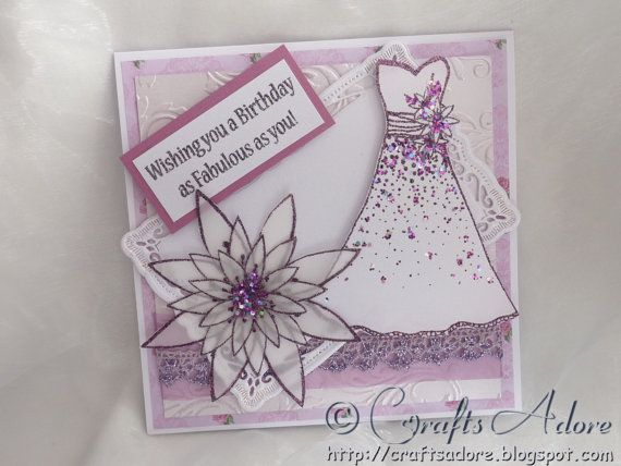 """Handmade Elegant Birthday Card Wishing You a Birthday as Fabulous as You! with Floral and Embossed Background, Glittered """"Stamps by Chloe"""" Dress and Flower"""