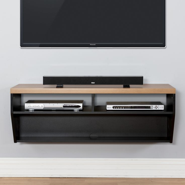"""Features:  -River Cherry finish on the surfaces with black finished supports.  -Thick 1-1/2"""" wood grain top profile with black base creates elegant and upscale appearance.  -Holds 2 audio/video compon"""