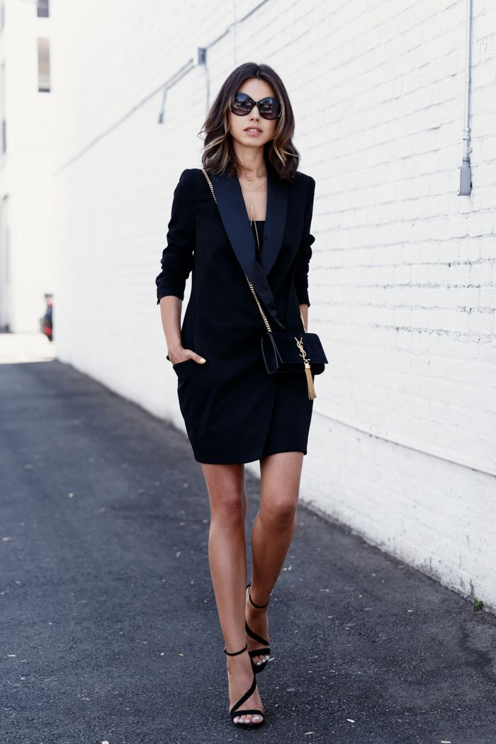 Black tuxedo style dress