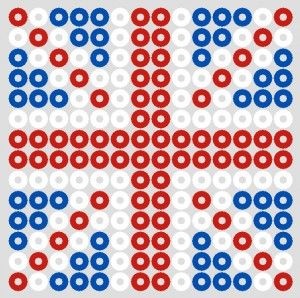 Flag UK in Hama beads. Make a union jack for an easy jubilee craft.