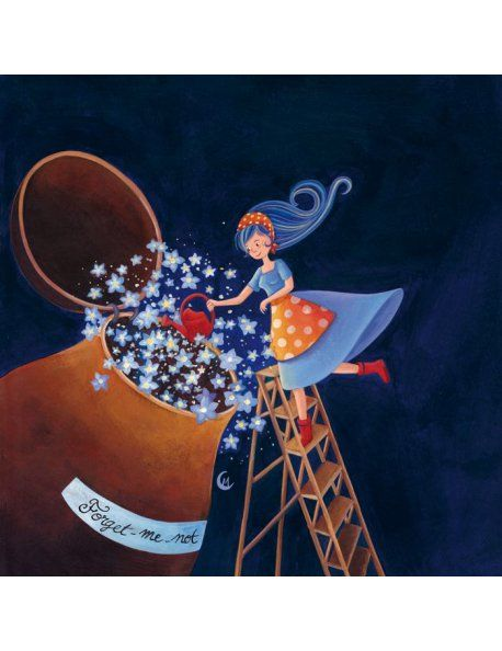 """Marie Cardouat square card (14 cm) """"Forget me not"""""""