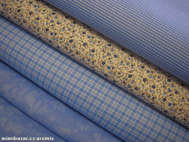 látka MODRÁ VARIACE  modrá kostička (větší) 50 cm