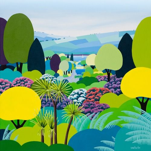 Rhododendron Valley, Trebah by Shirley Netherton @ Mini Gallery - Acrylic Painting