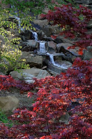 Head to Honor Heights Park in Muskogee, Oklahoma to witness gorgeous waterfalls and bright foliage.