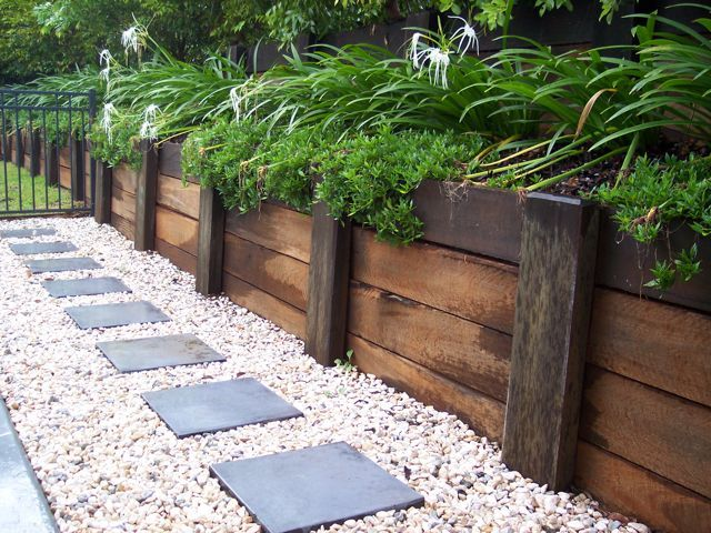 Treated wood retaining walls