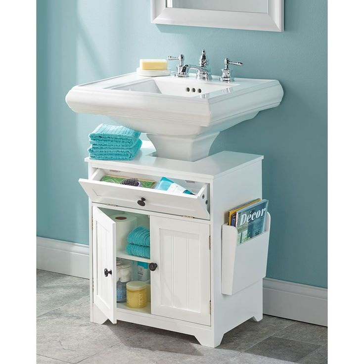 Fantastic Storage  White Bathroom Dual Pedestal Sink Storage Pedestal Sink