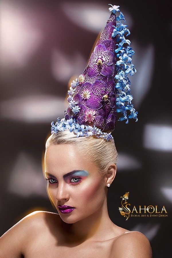 Flower Headpiece featuring Vanda Orchid, Hyacinths. Floral Headpiece by New York Flower Designer Olga Sahraoui. #fashion #flower #crown