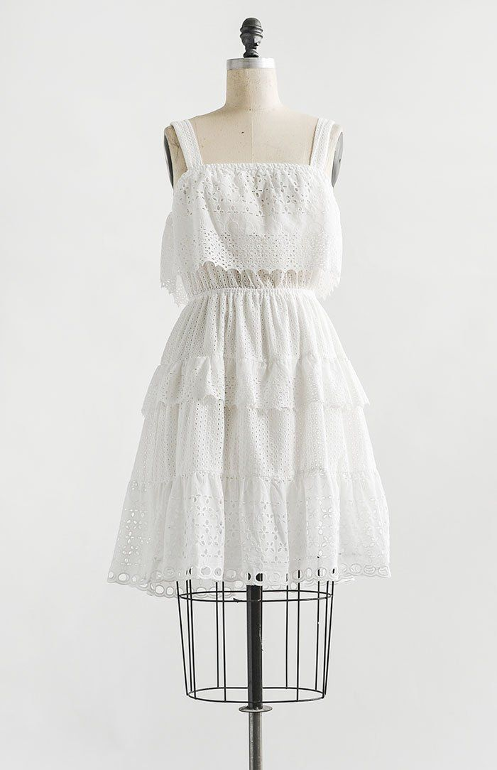 796ca01a17d Vintage and Vintage Inspired Clothing   Feminine Classic White Eyelet  Detail Tiered Midi Dress   Varennes