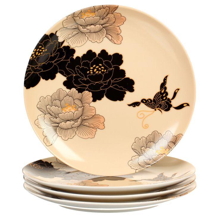 Bazarchic - 4 Assiettes en Porcelaine Pivoine et Ivoire D19.5 cm