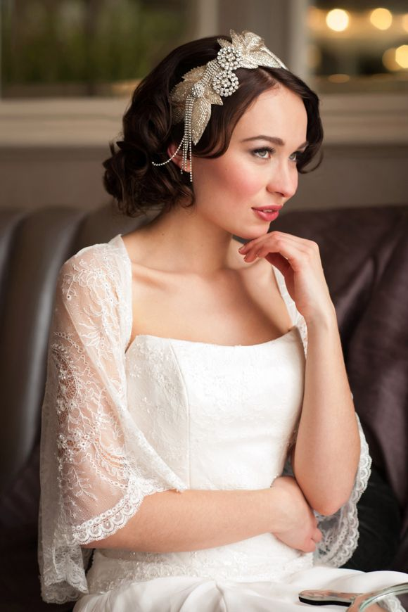 Mid-length dark hair looking so lovely! Vintage and luxury wedding jewellery and accessories by Donna Crain vintage inspired veils, Juliet cap veils, vintage jewellery and headpieces