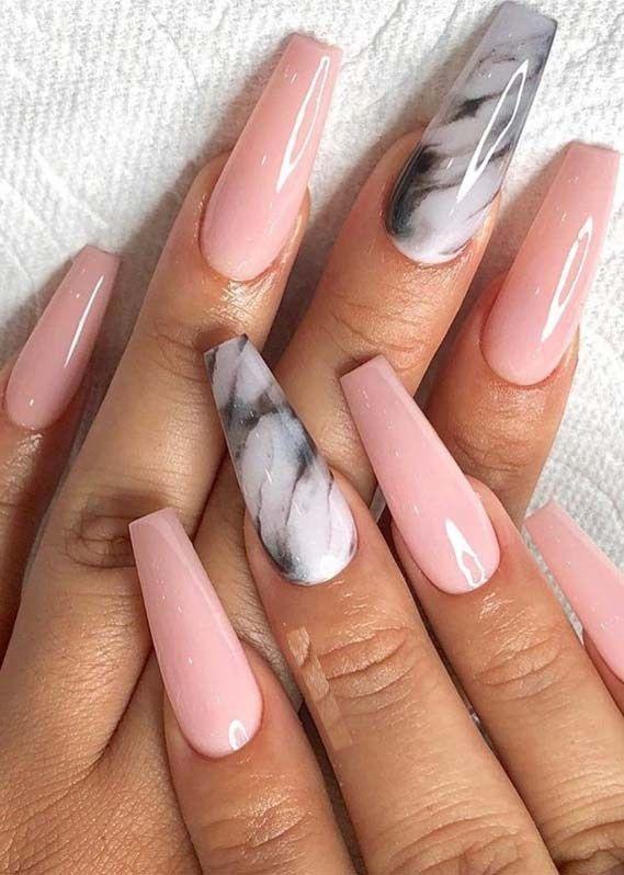 Marmorförmige pinkfarbene Nail Art zum Herstellen der 2019 – # förmigen # Herstellung … – Coffin Nails