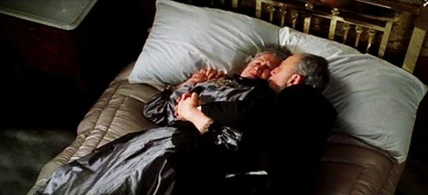 The elderly couple seen hugging on the bed while water floods their room are the owners of Macy's department store in New York; Ida and Isidor Strauss, both of whom died on the Titanic.