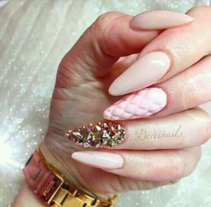 Nude Pink Almond Shape Acrylic Nails W Rhinestone Junk Nail