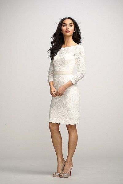 Encore Dress Posey Chic ivory bateau neck lace dress over almond lining with a deep V back, above the knee length slim skirt, 34 length sleeves, and an oatmeal grosgrain ribbon belt at natural waist.