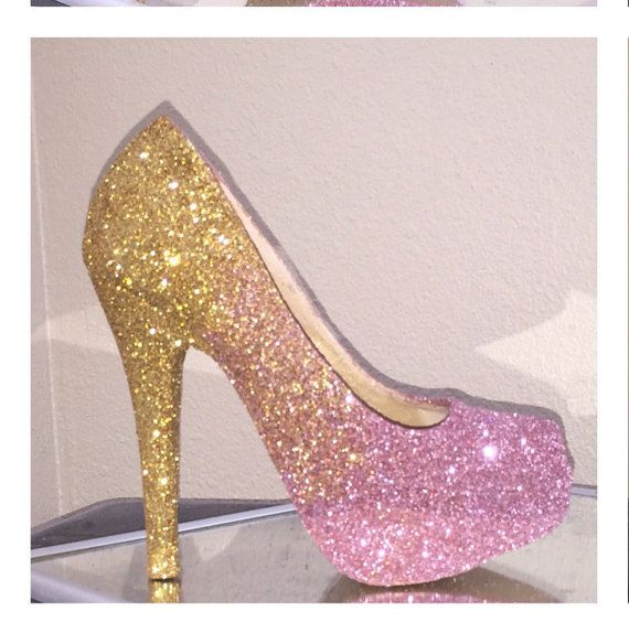 GIRLY Pink and gold ombré fade sparkly glitter high heels stiletto