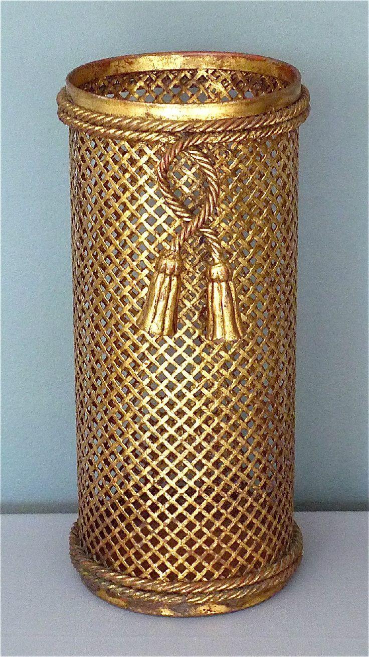 Gilt italian MIDCENTURY umbrella stand paper waste basket 50´s hollywood regency | eBay