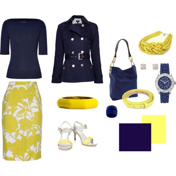 yellow and navy: Perfect Combinations, Colors Stories Yellow, Mellow Yellow, Attire Skirts, Colors Story Yellow, Fashion Inspiration, Fashion Fall, Dreams Wardrobes, 2013 Fashion