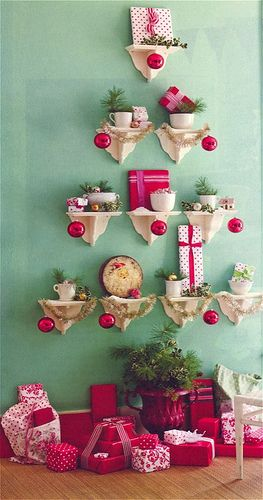 Cute shelf tree... (and colors!) Oh I love Christmas!