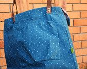 Upcycled women's handbag with leather straps. Eco friendly zippered bag from blue&white polka dot cotton with floral lining+internal pocket