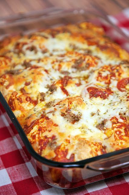 Quick Pizza Casserole Recipe - bisquick, pizza sauce, cheese, pepperoni, sausage - takes minutes to mix together - ready in 30 minutes! Great change to pizza night!                                                                                                                                                     More