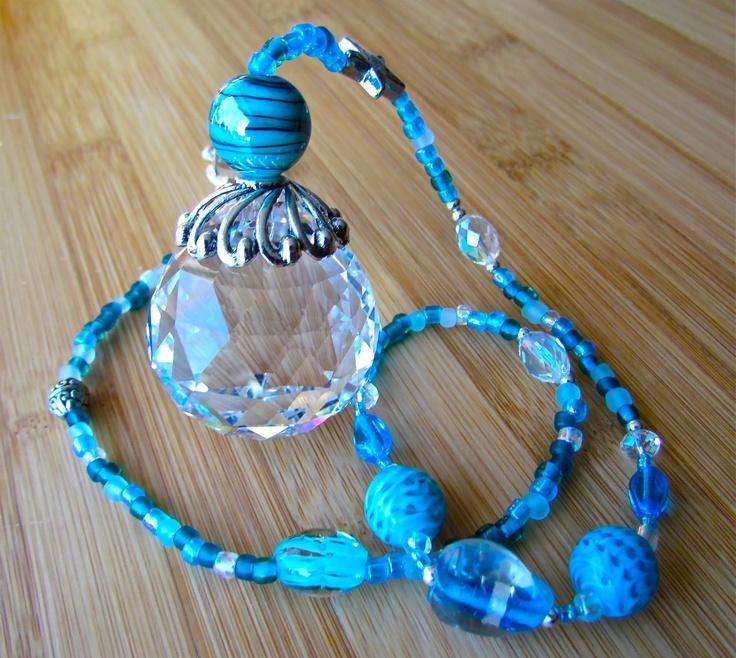 "Crystal Prism Beaded Suncatcher - ""Pool Blue"" by Prism Peddlers glass beads: http://www.ecrafty.com/c-2-glass-beads.aspx"