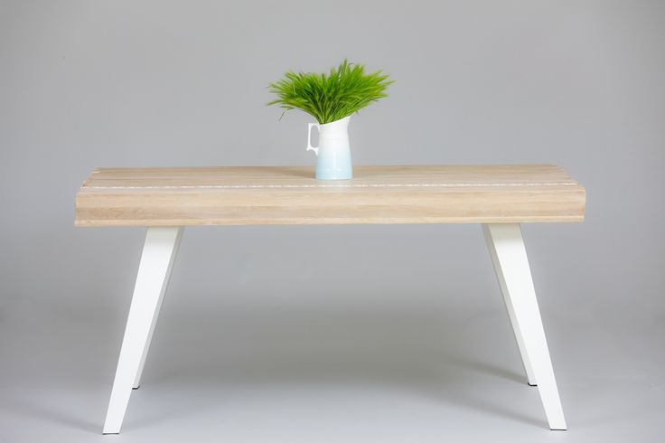 Modern dining wood table with metal legs