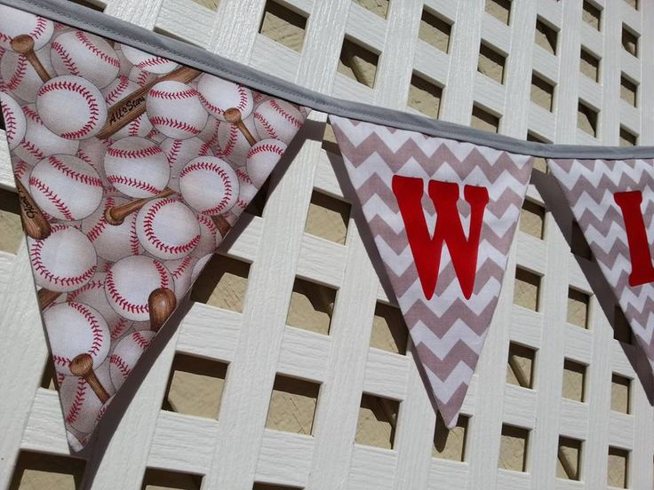 Baseball Banner, Sports Banner, Baby Boy Shower, Gray Chervron Baseball Banner, First Bithday, Name Baseball Banner, FABRIC Baseball Banner by GmaCustom4You on Etsy